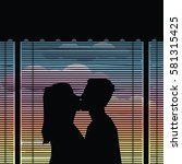 couple kiss silhouette  ...