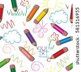 vector seamless pattern. kids... | Shutterstock .eps vector #581316955