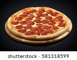 pizza pepperoni  mozzarella ... | Shutterstock . vector #581318599