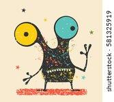 cute black monster with... | Shutterstock .eps vector #581325919
