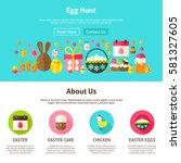 web design egg hunt. flat style ... | Shutterstock .eps vector #581327605
