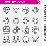 set of thin line jewelry icons. ...