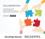 four hands holding puzzle... | Shutterstock .eps vector #581335591