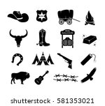 cowboy  western  wild west icon ... | Shutterstock .eps vector #581353021