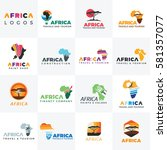 africa logo. africa map. logo... | Shutterstock .eps vector #581357077