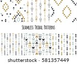 set of modern seamless hand... | Shutterstock .eps vector #581357449