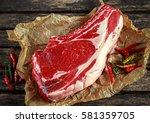 fresh raw beef bone rib roughly ... | Shutterstock . vector #581359705