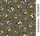 seamless pattern with bees | Shutterstock .eps vector #581360899
