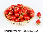 tomatoes in a bamboo basket | Shutterstock . vector #581369065