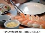 nigiri sushi japan food on... | Shutterstock . vector #581372164