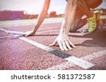 athlete ready to start the... | Shutterstock . vector #581372587