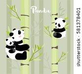 pandas climbing the bamboo... | Shutterstock .eps vector #581378401