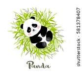 young panda lies on bamboo... | Shutterstock .eps vector #581378407