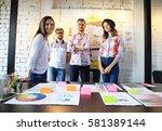 portrait of happy young people... | Shutterstock . vector #581389144