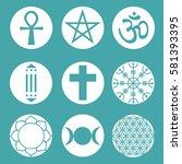 vector spiritual symbols set | Shutterstock .eps vector #581393395