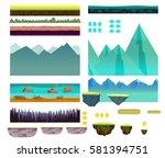 cartoon nature landscape ... | Shutterstock .eps vector #581394751