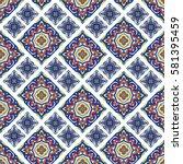 portuguese azulejo tiles. blue... | Shutterstock .eps vector #581395459