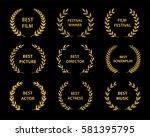 film awards.gold award wreaths... | Shutterstock .eps vector #581395795
