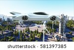 futuristic car flying over the... | Shutterstock . vector #581397385