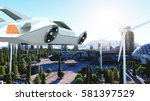 futuristic car flying over the... | Shutterstock . vector #581397529