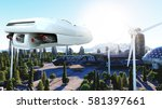futuristic car flying over the... | Shutterstock . vector #581397661