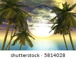 palm trees by the ocean | Shutterstock . vector #5814028