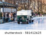 Small photo of Washington DC, USA - January 28, 2017: Ice rink cleaned by machine leveler resurfacer to skate in National Gallery of Art Sculpture garden