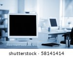 computer and notebook on the... | Shutterstock . vector #58141414