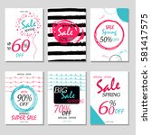 set of 6 spring discount cards... | Shutterstock .eps vector #581417575