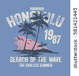 Honolulu Hawaii Surf Typograph...