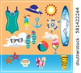 seafood set  palm tree  dolphin ... | Shutterstock .eps vector #581422264
