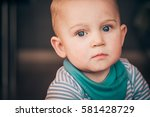 cute serious one year old... | Shutterstock . vector #581428729