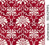 seamless vintage red chinese... | Shutterstock .eps vector #581429491