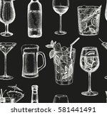 seamless pattern. alcoholic... | Shutterstock .eps vector #581441491