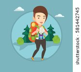 backpacker with backpack and... | Shutterstock .eps vector #581442745