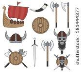 set of color viking elements... | Shutterstock .eps vector #581444377