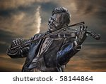 violinist statue with sunset sky | Shutterstock . vector #58144864