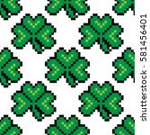seamless pattern with pixel... | Shutterstock .eps vector #581456401