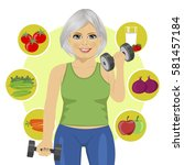 elderly woman with dumbbells... | Shutterstock .eps vector #581457184
