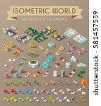 isometric world on dark... | Shutterstock .eps vector #581457559