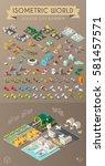isometric world on dark... | Shutterstock .eps vector #581457571