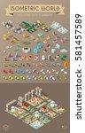 isometric world on dark... | Shutterstock .eps vector #581457589