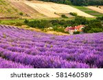 small village at the lavender... | Shutterstock . vector #581460589