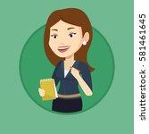 journalist writing in notebook... | Shutterstock .eps vector #581461645
