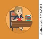 caucasian student sitting at... | Shutterstock .eps vector #581466391