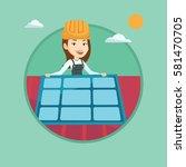 technician installing solar... | Shutterstock .eps vector #581470705