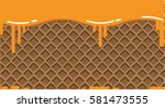 waffle on background and in... | Shutterstock .eps vector #581473555