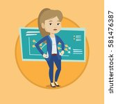bankrupt business woman showing ...   Shutterstock .eps vector #581476387