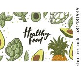 healthy food set | Shutterstock .eps vector #581481949
