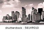 City Skyline  Vintage Monochrome